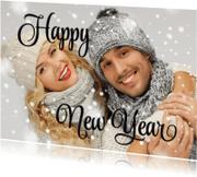 Nieuwjaarskaarten - Eigen foto Happy New Year zwart