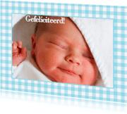 Felicitatiekaarten - Felicitatiekaart Foto Geboren Blauw
