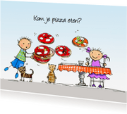 Uitnodigingen - Flip en Anke pizza Anet Illustraties