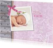 Uitnodigingen - Geboorte lief stoer foto roze