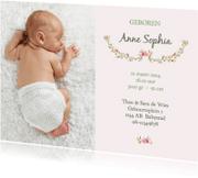 Geboortekaartjes - Geboortekaart meisje bloemen met foto