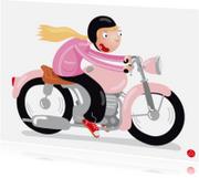 Geslaagd kaarten - Geslaagd motor rijbewijs vrouw Motormeisje