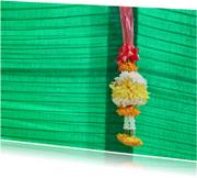Religie kaarten - Groen met bloem - l
