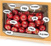 Ansichtkaarten - groetjes van een mand appels
