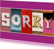 Sorry kaarten - Grote letters SORRY