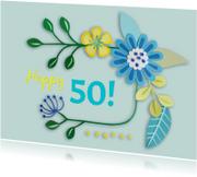 Verjaardagskaarten - Happy 50! bloemen