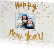 Nieuwjaarskaarten - Happy New Year geel 1 foto - BK
