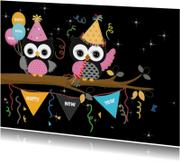 Nieuwjaarskaarten - Happy new year met uilen