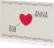 Felicitatiekaarten - Hart met pijl, bob en anna