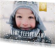 Kerstkaarten - Hippe enkele kerstkaart met grote foto en goud-wit confetti