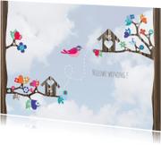 Verhuiskaarten - Hippe Verhuiskaart Vogel Lucht 1