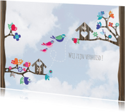 Verhuiskaarten - Hippe Verhuiskaart Vogel Lucht 3