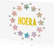 Verjaardagskaarten - Hoera met bloemen