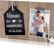 Uitnodigingen - Housewarming foto houtprint