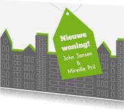Verhuiskaarten - Huizen groen en grijs - SZ