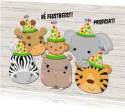 Verjaardagskaarten - Jarige beestenboel met feestmuts