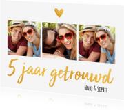Jubileumkaarten - Jubileumkaart 5 jaar getrouwd goud fotocollage