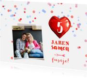 Jubileumkaarten - Jubileumkaart confetti rood hart
