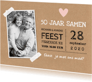 Jubileumkaarten - Jubileumkaart foto hartje kraft typografie