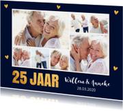 Jubileumkaarten - Jubileumkaart fotocollage goud hartjes 25 jaar