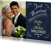Trouwkaarten - Just Married Schoolbord