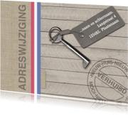 Verhuiskaarten - Jute en houtlook verhuiskaart