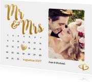 Trouwkaarten - Kalender Mr & Mrs goud foto - BK