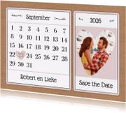 Trouwkaarten - Kalender Save the Date - BK