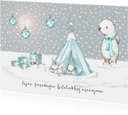 Kerstkaarten - Kerskaart winter tipi met konijntjes en ijsbeer