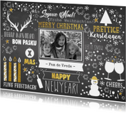 Kerst feestelijke typografische kaart met krijtbord-look