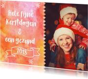 Kerstkaarten - Kerst fotokaart met waterverf achtergrond en kopere details