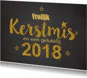 Kerstkaarten - Kerst krijtbord handlettering goud glitter 2018