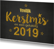 Kerstkaarten - Kerst krijtbord handlettering goud glitter 2019