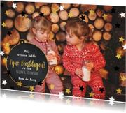 Kerstkaarten - Kerst moderne foto kaart met sterren en krijtbord kerstbal
