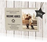 Kerstkaarten - Kerst verhuiskaart hout met foto