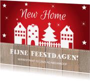 Kerstkaarten - Kerst verhuiskaart rood design huisjes - LB