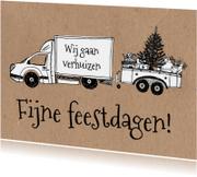 Kerstkaarten - Kerst verhuiskaart verhuiswagen