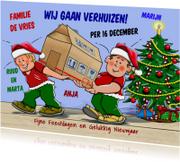 Kerstkaarten - Kerst-verhuiskaart verhuizers in kerst-kleding met doos