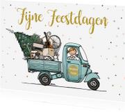Kerstkaarten - Kerst verhuiskaart Vespa ape av