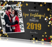 Kerstkaarten - Kerst vrolijke  fotokaart krijtbord met goud elementen