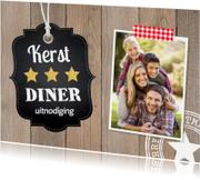 Kerstkaarten - Kerstdiner uitnodiging foto label hout - LB