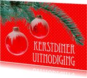 Uitnodigingen - Kerstdiner uitnodiging Kerstballen
