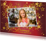 Kerstkaarten - Kerstkaart foto feestelijk rood en gouden sterren