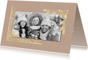 Kerstkaarten - kerstkaart gouden kader met foto
