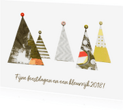 Kerstkaarten - Kerstkaart kerstbomen collage kleurrijk