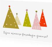 Kerstkaarten - kerstkaart kerstbomen vrolijke kleuren