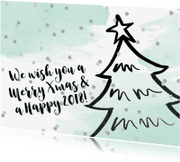 Kerstkaarten - Kerstkaart kerstboom confetti aquarel mint