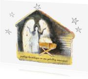 Kerstkaarten - kerstkaart kerststal engel kribbe