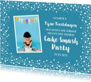 Kinderfeestjes - Kerstkaart kinderfeestje uitnodiging blauw sterren foto