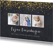 Kerstkaarten - Kerstkaart krijtbord en goudversiering